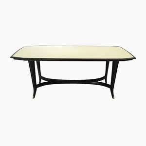 Italian Ebonized Beech Dining Table with Back-Painted Glass Top, 1950s
