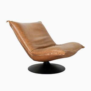 Vintage Brown Leather F980 Lounge Chair by Geoffrey Harcourt for Artifort