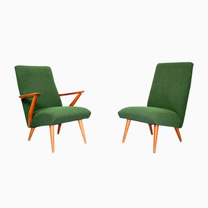 Green Bouclé & Pine Wood Lounge Chairs, 1950s, Set of 2