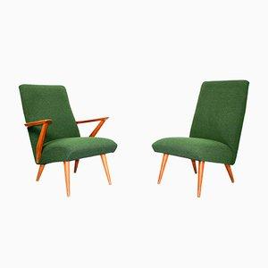 Sessel mit Gestell aus Pinienholz & grünem Bouclé-Stoffbezug, 1950er, 2er Set