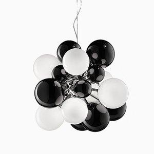 Lámpara DIGIT mini de vidrio negro y blanco lechoso de Emmanuel Babled