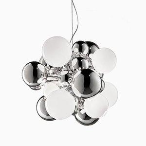 Lampada piccola DIGIT in cristallo specchiato e vetro bianco di Emmanuel Babled