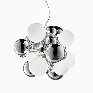 Mini Lampe DIGIT en Cristal Miroité et Blanc Lattimo par Emmanuel Babled