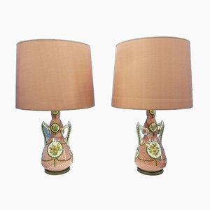Lámparas de mesa italianas de cerámica y latón, años 50. Juego de 2