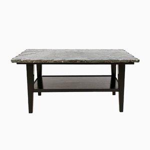 Tavolino da caffè Mid-Century in legno ebanizzato e marmo verde, anni '40