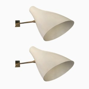 Italian Brass & Enamelled Wall Lights, 1950s, Set of 2