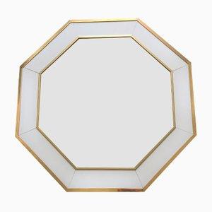 Vintage Spiegel mit weiß lackiertem Messingrahmen von Jean Claude Mahey für Maison Roméo, 1970er
