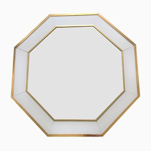 Vintage White-Lacquer & Brass Mirror by Jean Claude Mahey for Maison Roméo, 1970s