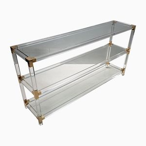 Vintage Lucite & Gilt Metal 3-Tier Console Table, 1970s