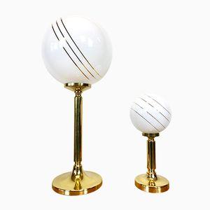 Lámparas de mesa vintage de latón, años 80. Juego de 2