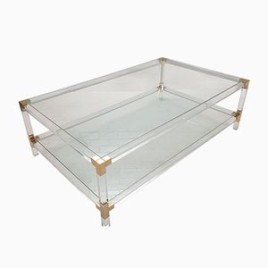 Vintage Lucite and Gilt Metal 2-Tier Coffee Table, 1970s