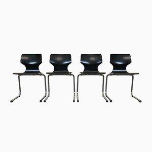 Freischwingende Vintage Stühle aus Schichtholz & Chrom, 4er Set