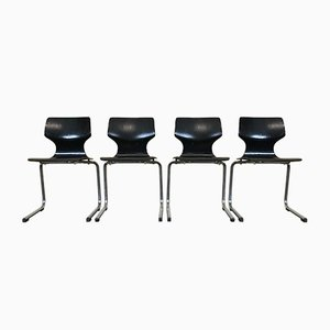 Vintage Pagwood & Chrome Cantilever Chairs, Set of 4