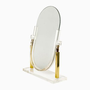 Specchio da tavolo vintage in ottone e lucite