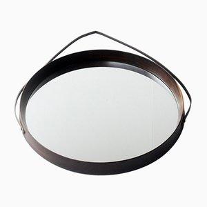 Espejo redondo de teca, años 60