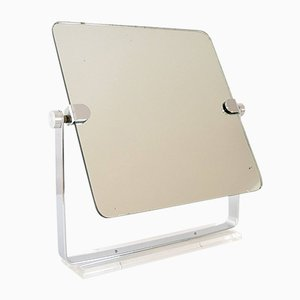 Mid-Century Modern Chrome & Lucite Adjustable Tabletop Mirror