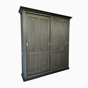 Industrial Armoire with Sliding Doors, 1930s