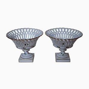 Antike handbemalte Porzellankörbe, 2er Set