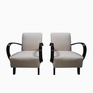 Hellrosafarbene Stühle aus Bugholz von Jindřich Halabala für Thonet, 1930er, 2er Set