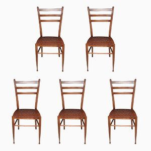 Vintage French Cane Dining Chairs, 1930s, Set of 5