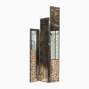 Biombo plegable Mid-Century con espejo de dos caras, años 70