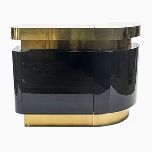 Vintage Lacquered & Brass Bar by Jean Claude Mahey for Maison Roméo, 1970s