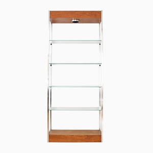 Mid-Century Glass & Wood Bookcase, 1960s