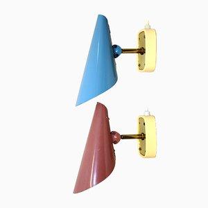 Lámparas de pared ajustables de Rupert Nikoll, años 50. Juego de 2