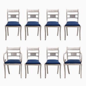Antique Gustavian Dining Chairs, Set of 8