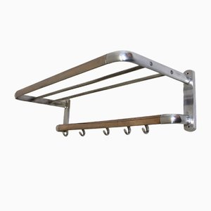 Bauhaus Polished Aluminium & Copper Coat Rack, 1940s