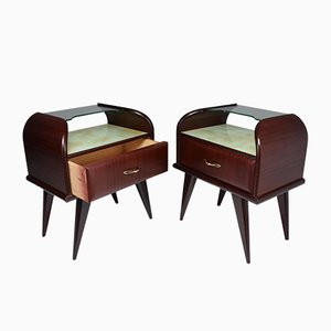 Vintage Italian Mahogany Nightstands, 1950s, Set of 2