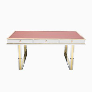 Vintage Lacquered Chrome, Brass & Red Leather Desk by Atelier La Boetie, 1974