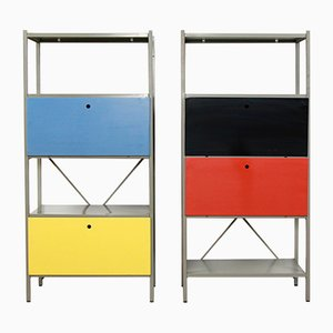 Vintage Model 663 Metal Shelving Cabinets by Wim Rietveld for Gispen, 1954, Set of 2