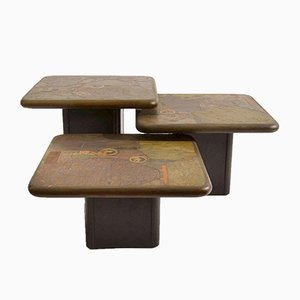 Brutalist Mosaic Nesting Tables by Paul Kingma for Kneip, 1989