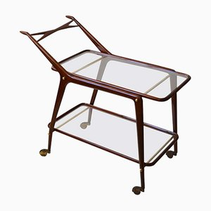 Mahogany Cocktail Trolley by Cesare Lacca for Cassina, 1950s