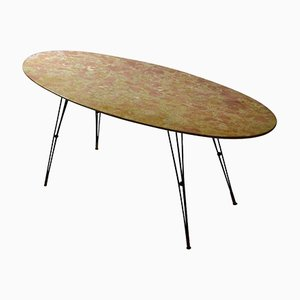 Oval Italian Marble Cocktail Table on Black Spider Legs, 1950s