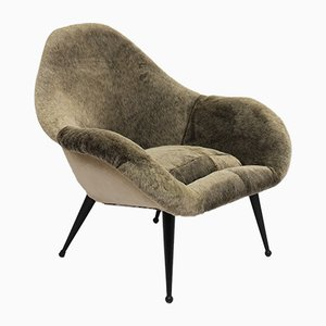 Scandinavian Faux Fur Shell Armchair, 1970s
