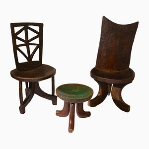 Sculptural Ethiopian Wooden Hand-Carved Chairs & Stool, 1960s