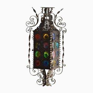 Lanterne Vénitienne 20th Century en Fer Forgé, et Disques en Verre Teinté Multicolores