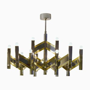 Chevron Chrome & Brass Chandelier by Gaetano Sciolari for Sciolari, 1970s
