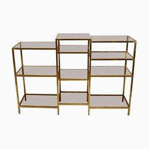 Multilevel Brass & Glass Shelving Unit by Romeo Rega, 1960s