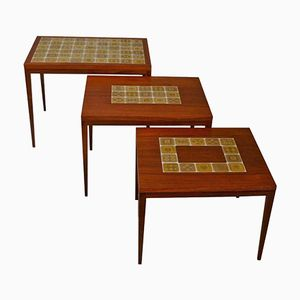 Palisander Nesting Tables with Gold Glazed Porcelain Tiles from Rosenthal, 1960s