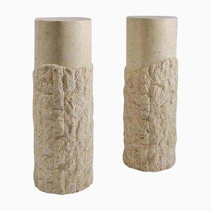 Sculptural Round Travertine Textural Pedestals, 1970s, Set of 2