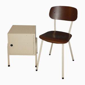 Braunes & weißes Set aus Stuhl und Nachttisch, 1950er