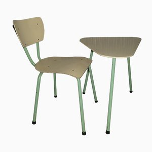 Mid-Century Industrial Pastel Green & Cream Table and Chair, 1950s
