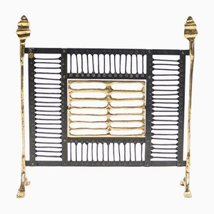 Wrought Iron & Brass Fire Screen, 1980s