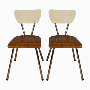 Industrial Wood and Chrome Dining Chairs, 1950s, Set of 2