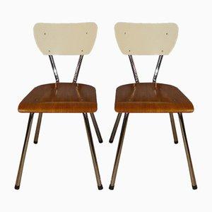 Industrielle Holz und Chrom Esszimmerstühle, 1950er, 2er Set