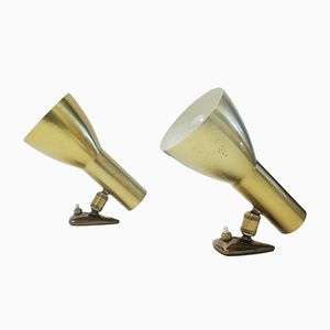 Gold Wall Sconces, 1960s, Set of 2