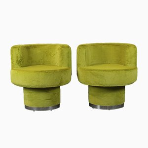 Fabric & Chrome Side Chairs, 1970s, Set of 2